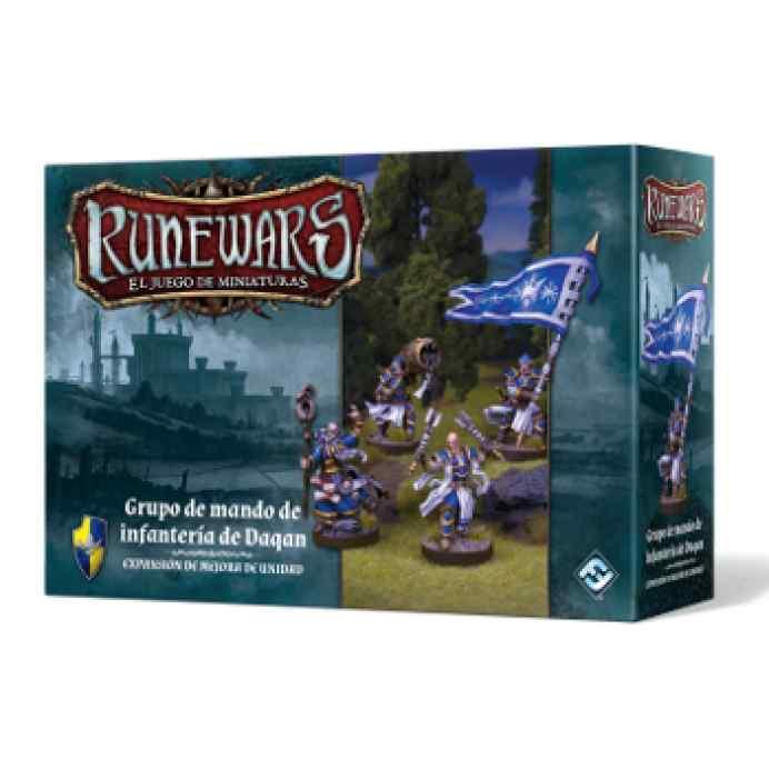 Runewars: El juego de miniaturas Los Señores de Daqan: Grupo de mando de infantería de Daqan
