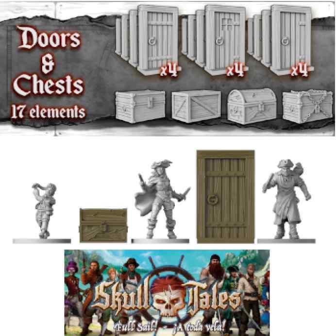 Skull Tales: Set 12 puertas + 5 baúles TABLERUM