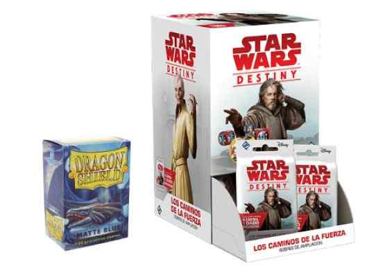 Star Wars: Destiny: Los Caminos de la Fuerza + Fundas Dragon Shield 100 Matte Blue TABLERUM