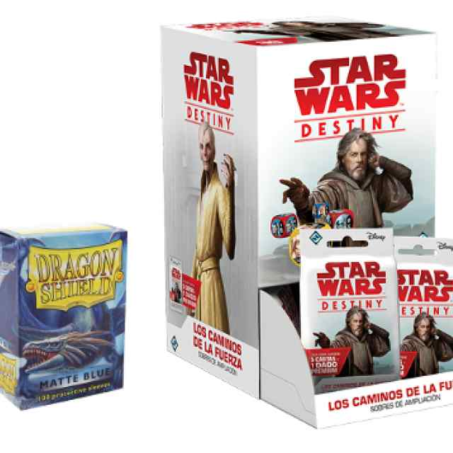 Star Wars: Destiny: Los Caminos de la Fuerza + Fundas Dragon Shield 100 Matte Blue TABLERUM