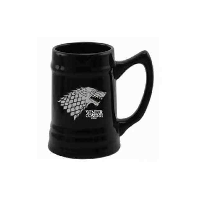 jarra de cerámica negra de la casa stark