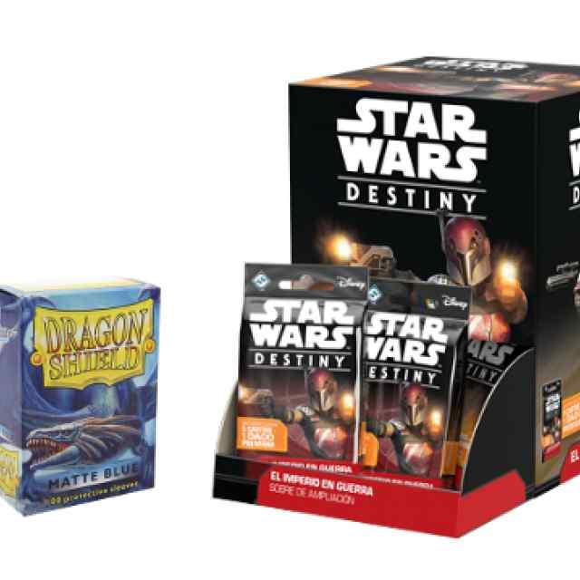 Star Wars Destiny: El Imperio en Guerra y de Regalo Fundas Dragon Shield 100 Matte Blue TABLERUM